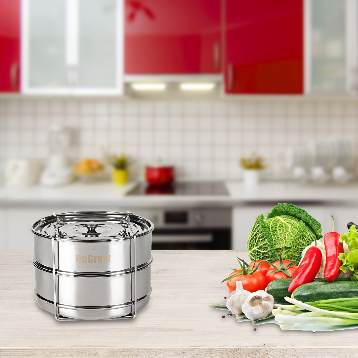 QuCrow Stackable Steamer Insert Pan with Sling - Stainless Steel Food Steamer for 6/8 Qt Pressure Cooker – Instant Pot Accessary by QuCrow (Image #6)