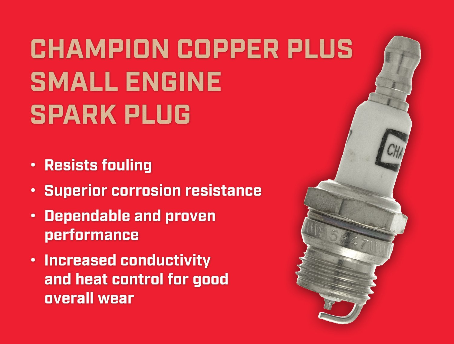 Champion RDJ7J (860) Copper Plus Small Engine Replacement Spark Plug (Pack  of 1)