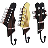 KUNGYO Pack of 3PCS Towel Coat Wall Rack Hangers Guitar Shape Vintage Resin Decorative Hooks (3-PACK)
