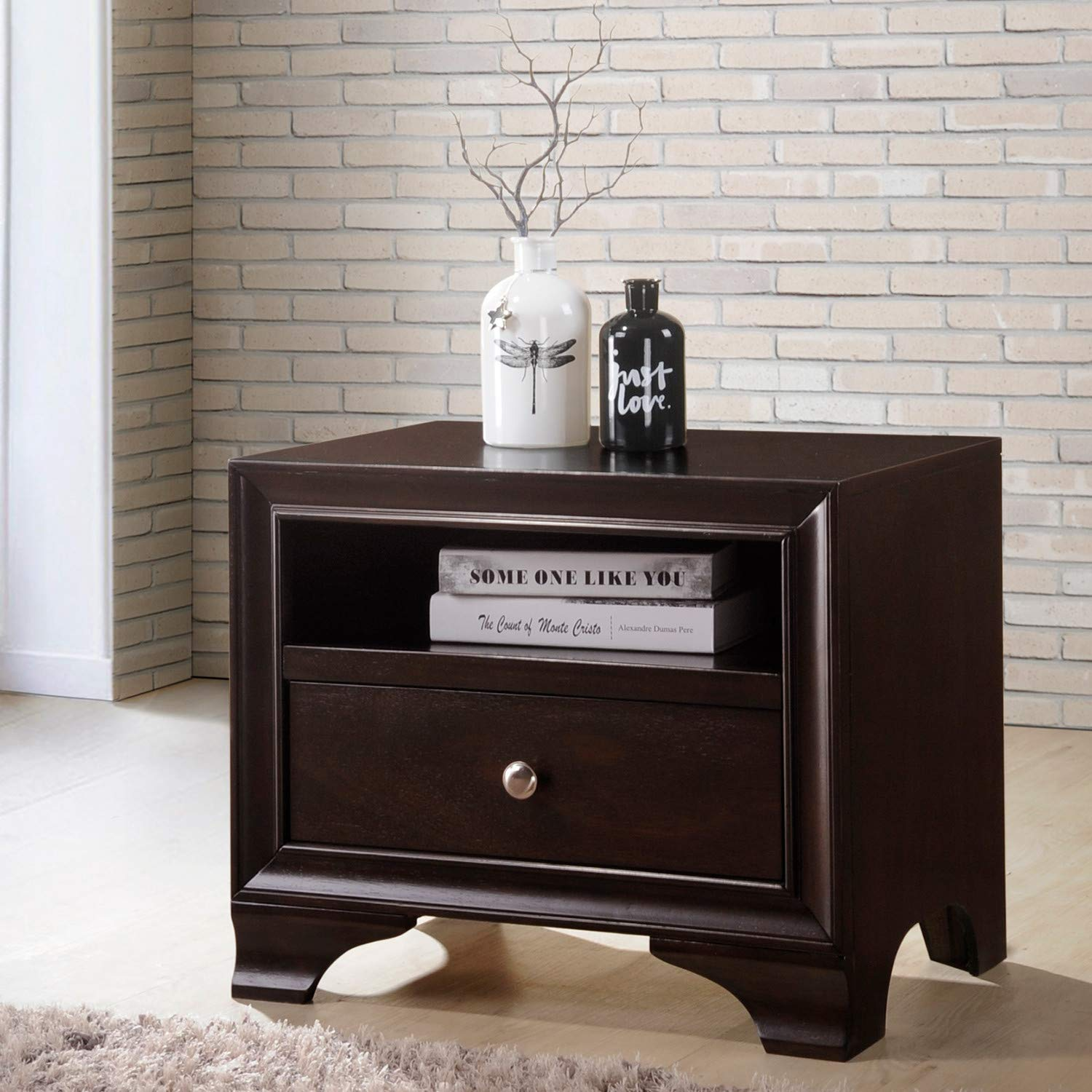 Brown Benzara BM177756 Nightstand with Drawer and Open Compartment