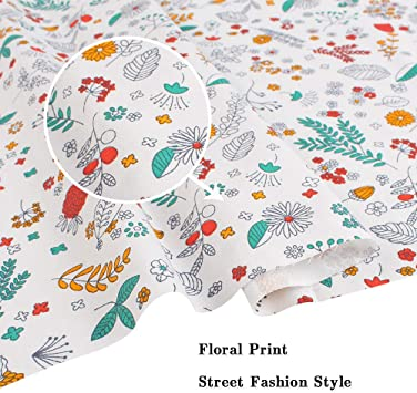 4Pack Zsedrut Floral Printed Gauze Craft Fabric 19.7x19.7 Fat Quarter Squares Quilting Sewing Material Cotton Reusable for Sewing Splicing DIY Crafts