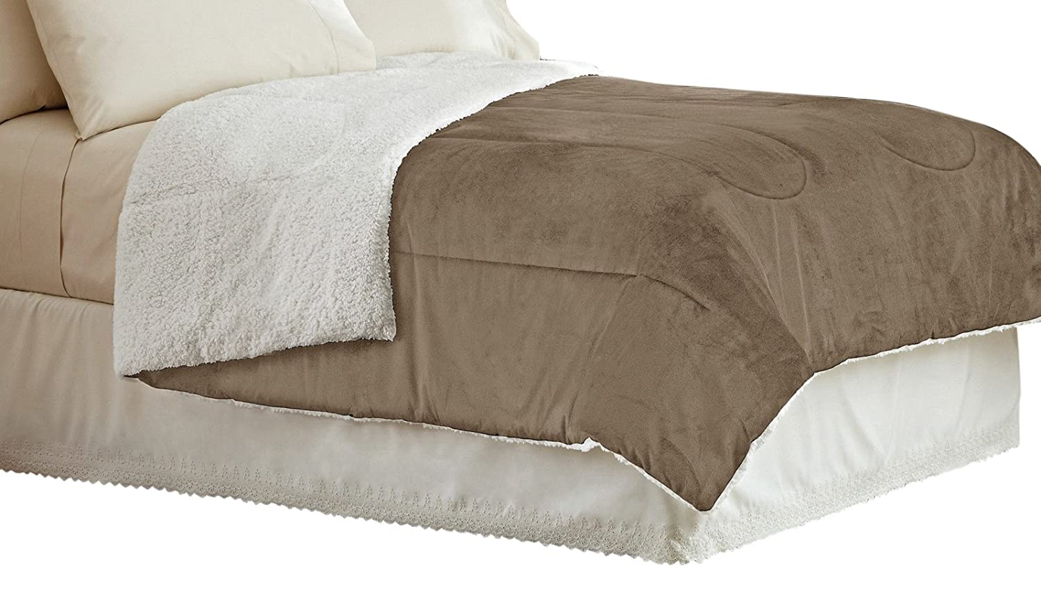 Idea Nuova Warmth Sherpa Comforter Chocolate, Full//Queen