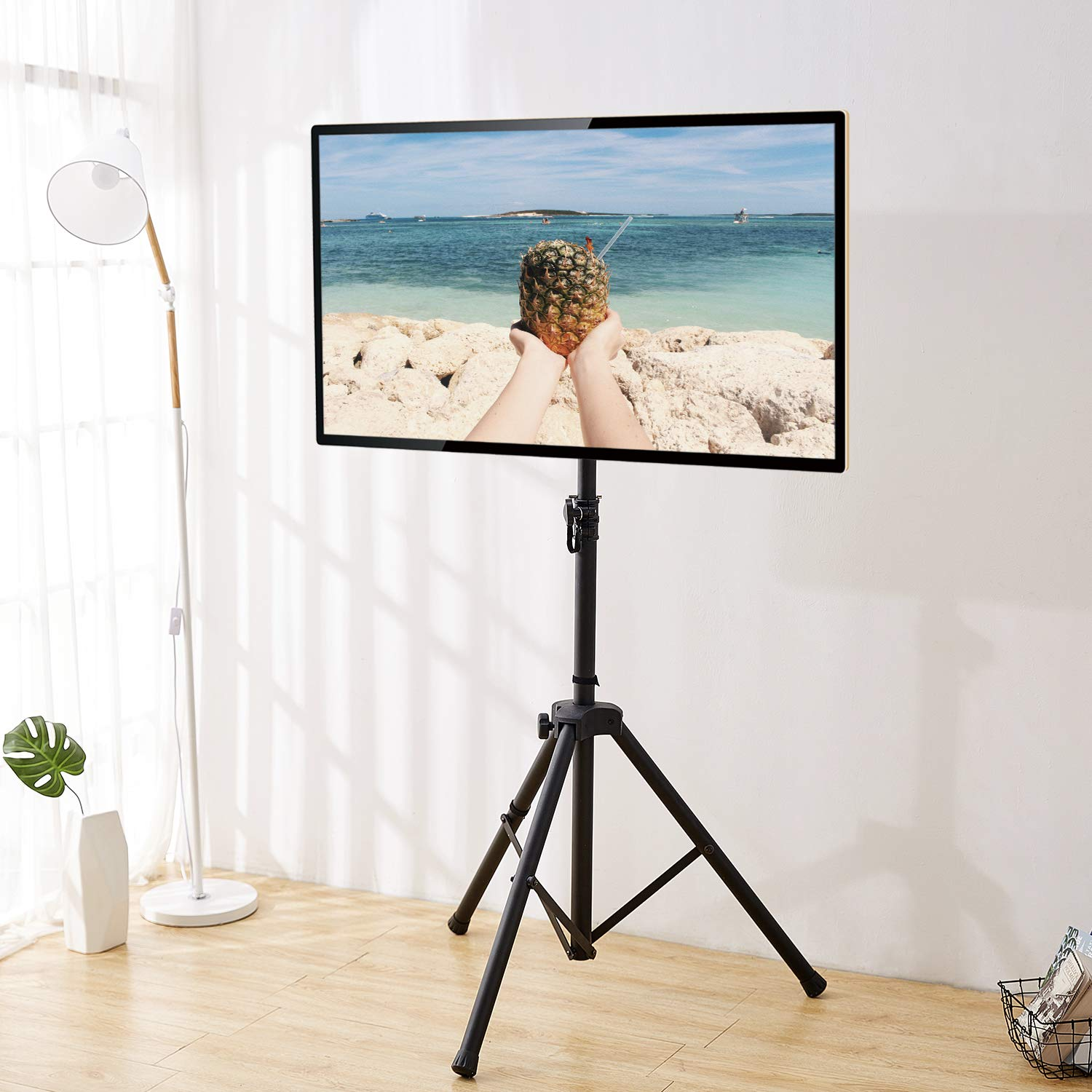 Rfiver Flat Panel TV Tripod Display Portable Floor TV Stand Foldable Monitor Stand with Universal Swivel Mount and Adjustable Height Fits 32 -55 Flat Screens, VESA 400x400mm, Black DS1001