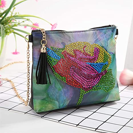 YESSKO DIY 5D Diamond Painting Butterfly Flower Crossbody Special Shaped Drill Cross Stitch Backpack Handbag Purse Tote Storage Bag Embroidery Kit Leather for Girl Women Art Craft Decor