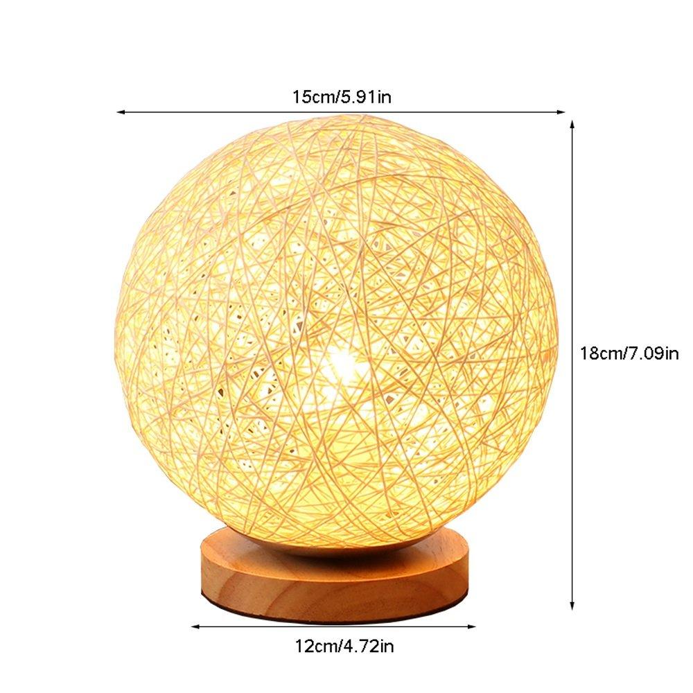 Dormitorio lámpara de mesita de noche lámpara de sobremesa Ball escritorio luz sueño romántico calor estrellado twine Takraw Ball E27 escritorio luces ...