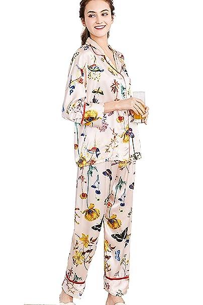 Pijamas para mujer, Mujer Satin camisones Pijamas Raso, Bordado de flores de encaje Satén suave y cálido Manga larga y pantalones largos: Amazon.es: Ropa y ...