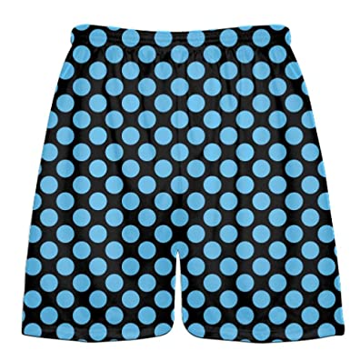 Black Mens Shorts Youth Boys Lacrosse Short Youth Black Hunter Green Polka Dots Lacrosse Shorts