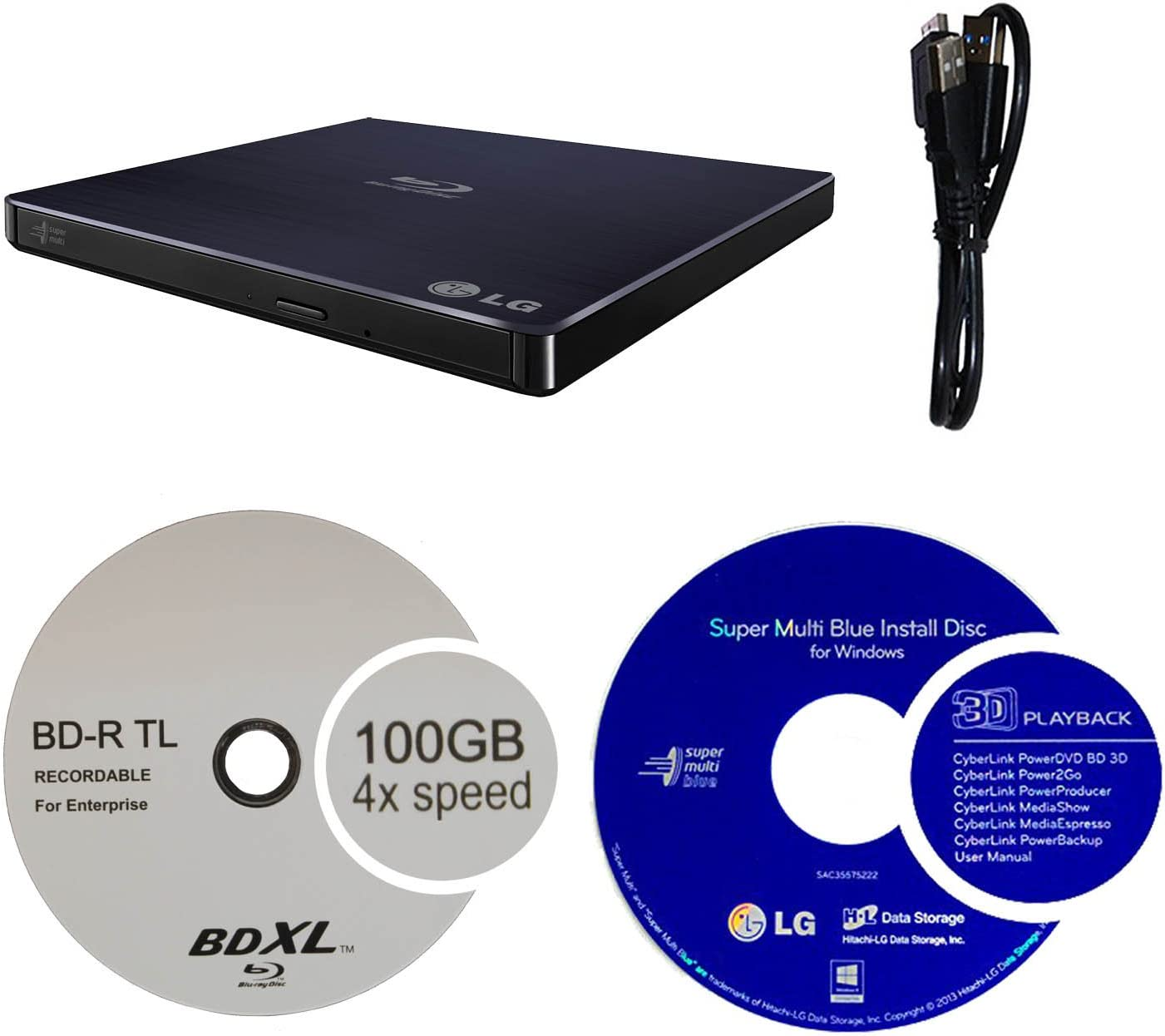 LG 6X WP50NB40 Ultra Slim Portable Blu-ray Burner Bundle with 100GB BDXL Disc and Cyberlink Burning Software