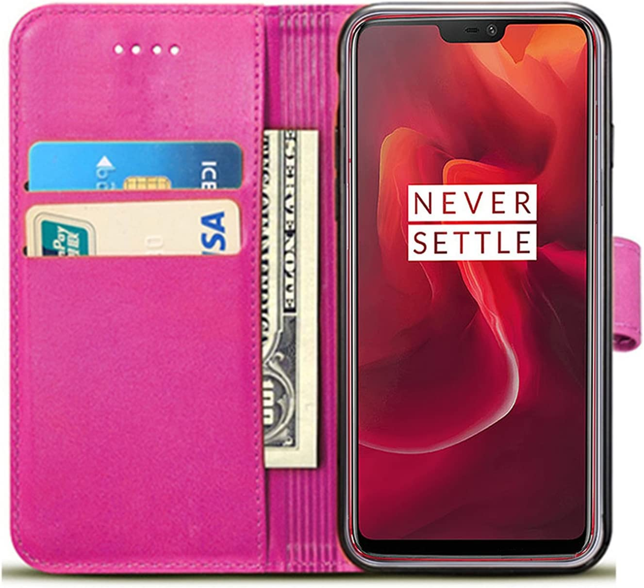 Butterfly Blue Book PU Leather Wallet Case Protector Flip Cover with Kickstand Card Holder Card Slots PU Leather for OnePlus 5T 2017 OnePlus 5T Case