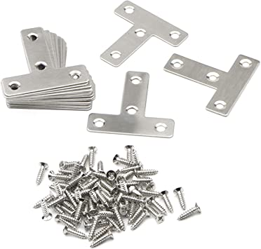 20 Pcs T Shape 50mmx50mm Shelf Support 4 Holes Bracket Joint