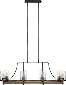 Feiss F3136/8DWK/SGM Angelo Island Chandelier Lighting with Glass Shades, Iron, 8-Light (46