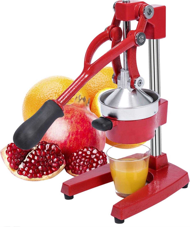 Gowintech Commercial Heavy Duty Cast Iron Hand Press Manual Orange Citrus Lemon Lime Grapefruit Fruit Juice Squeezer Machine Red