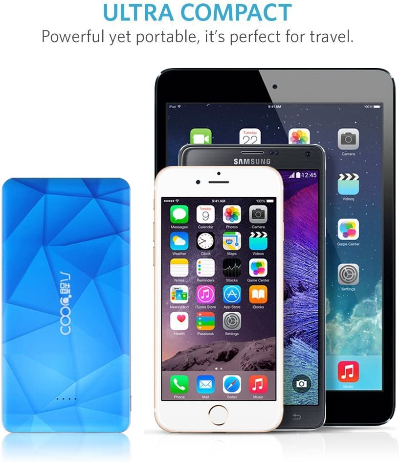 5 Nexus Note 5S HTC and More Smart Phones Mini 4S Air Blue LG S4 COOL8 Portable Power Bank,12000mAh Power Pack Dual-Port USB Charger 2.1A /& 1.0A Portable External Battery Charger for iPhone 6 6 Plus 5C Samsung Galaxy S5 Moto iPad