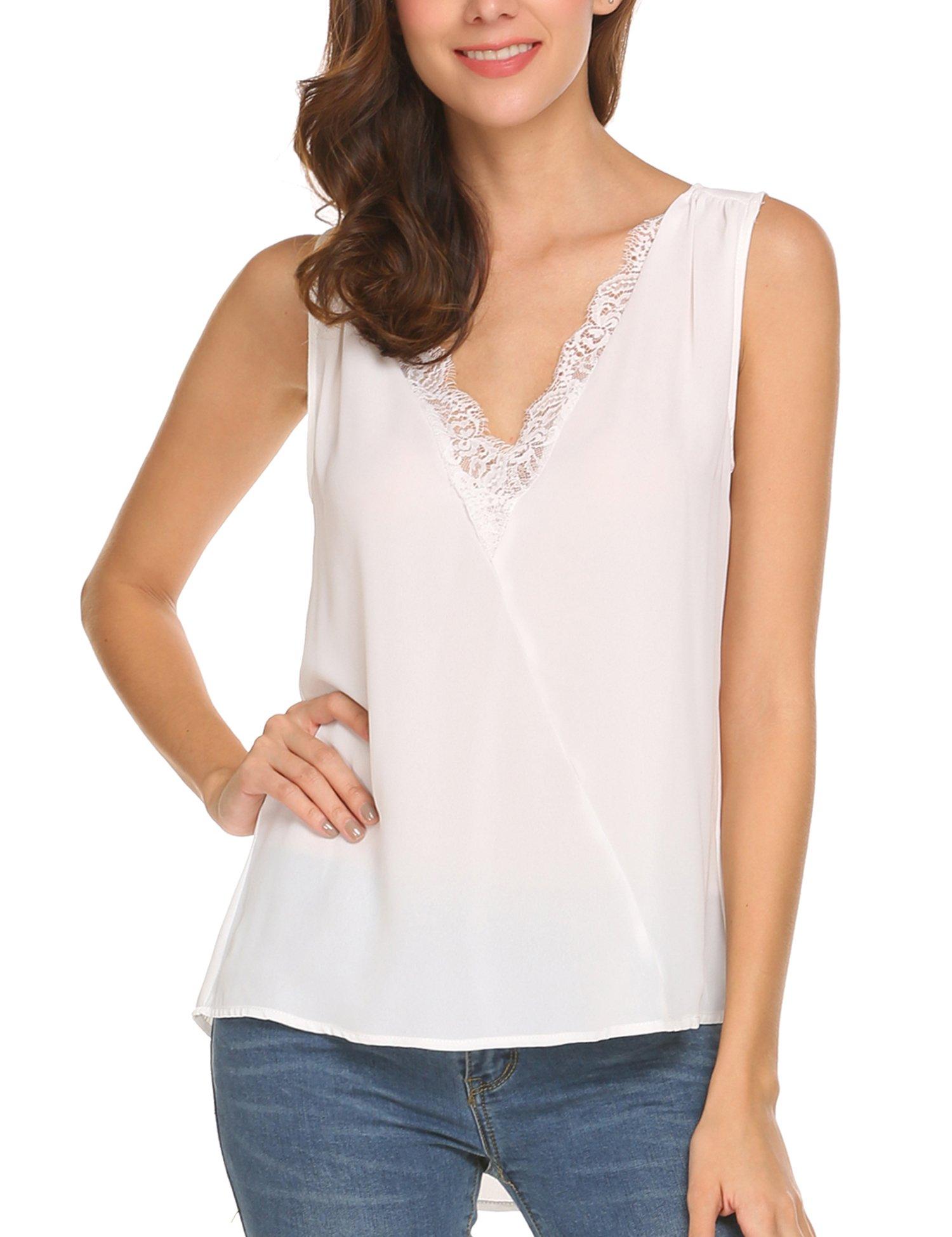 ThinIce Women's Casual Summer Chiffon Lace Slice Tank Top Sleeveless Blouse Shirt (White, X-Large)