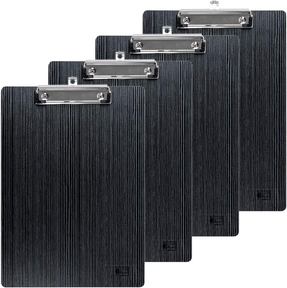 Brown Uquelic 4 Pcs Heavy Duty Clip Smooth Drawing Writing Board A4 Clipboards with Rounded Corners and Hanging Hole