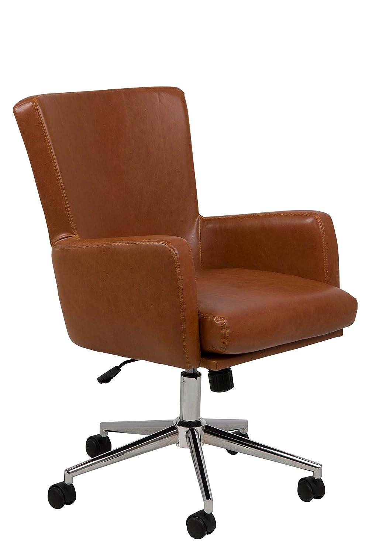 Lifestyle4living Bürostuhl, Schreibtischstuhl, Bürosessel, Drehsessel, Chefsessel, Computerstuhl, Schreibtischsessel, Drehstuhl, Computersessel, braun, Cognac, Chrom