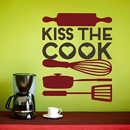 Amazon.com: Kitchen Sign - Kiss the Cook with Kitchen Utensils Wall ...