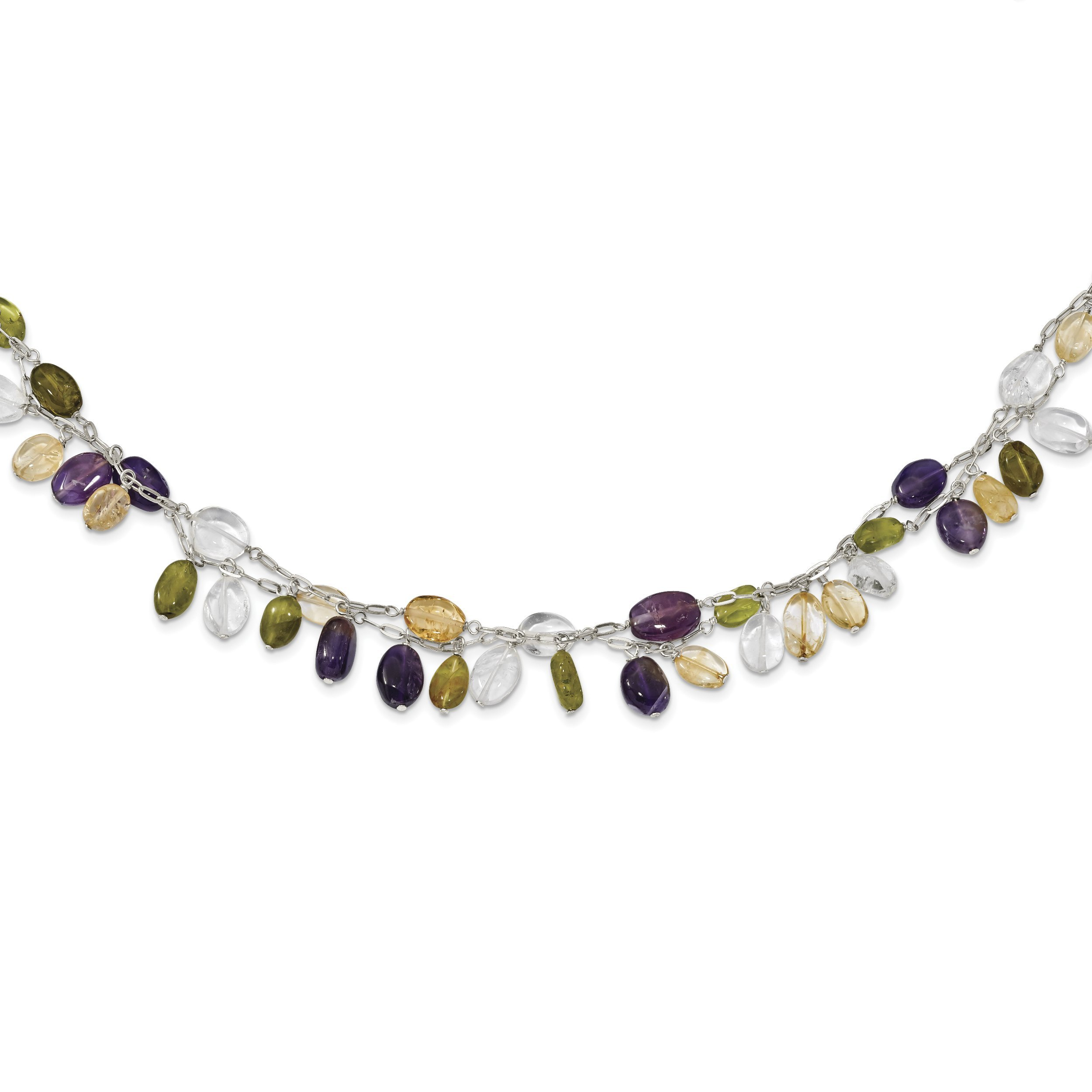 ICE CARATS 925 Sterling Silver Amethyst/citrine/peridot/rock Quartz 2 Strand Inch Extension Chain Necklace Natural Stone Fine Jewelry Gift Set For Women Heart