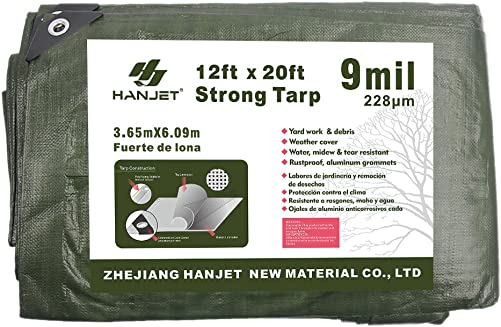 Hanjet Thick Camping Tarp 12 x 20 9-mil Shelter Waterproof Tarps for Boat Pool Green