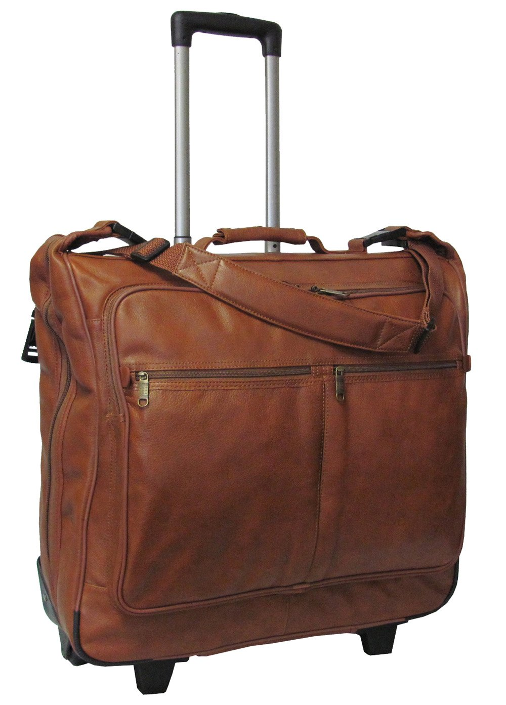 Rolling Leather Garment Bag (Brown) (#2482-2)