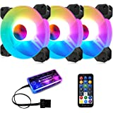 3 Pack RGB Case Fans,PECHAM 120mm Silent Computer Cooling PC Case Fan Addressable RGB Color Changing LED Fan with Remote Control,Music Rhythm Sync & 5V ARGB Motherboard Sync