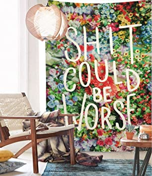 Floral Words Wall Tapestry Fabric Wallpaper Bedspreads Home Decor,60u0026quot;x  80u0026quot;,