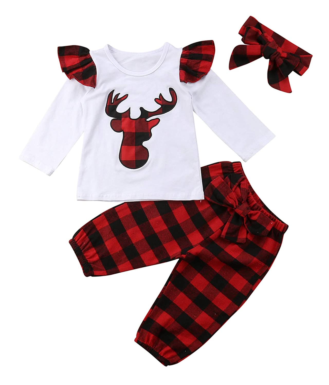 b04330d02 Amazon.com: Urkutoba Baby Boys Girls Christmas 3pcs Outfits Deer Applique  Check Long Sleeve T-Shirt Tops+Plaid Long Pants+Headband: Clothing