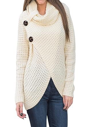 ff0142460b Shawhuwa Women s Chunky Turtle Cowl Neck Asymmetric Hem Wrap Sweater Coat  with Button Details S White