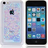 iPhone 5C Hülle,iPhone 5C Case [Scratch-Resistant], ISAKEN iPhone 5C Ultra Slim Perfect Fit Kreativ Design Liquid Fließen Flüssig Schwimmend Love Herz der Liebe Bling Luxus Shiny Glanz Sparkle Kristall Glitzer Hard Shell Crystal Clear Transparent Protective back Hülle Hüllen Beschützer Haut Case Tasche Schutz Etui Schutzhüllen Hülle Case for Apple iPhone 5C - Love Heart Blau
