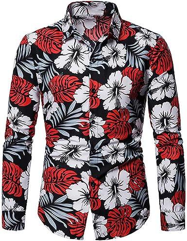 Camisas Hawaianas Aloha Camisa de Manga Larga Playeras Florales de Verano de Verano: Amazon.es: Ropa y accesorios