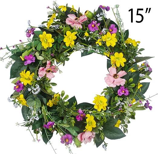 Amazon Com Gamexcel Door Wreath For Spring 15in Daisy Summer