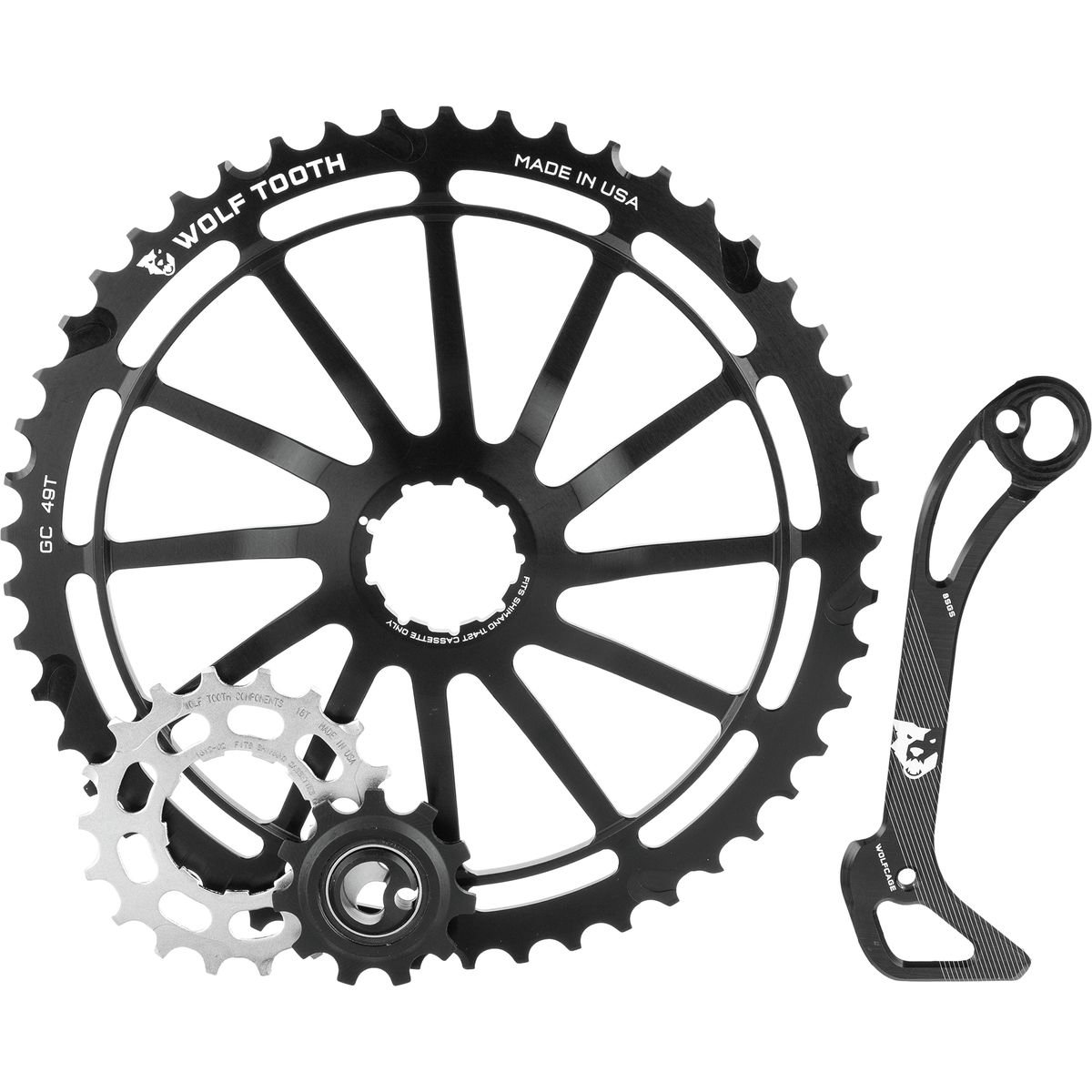 Wolf Tooth Components WolfCage Combo Pack: Includes 49T Cog, 18T Cog, and Derailleur Cage, Black