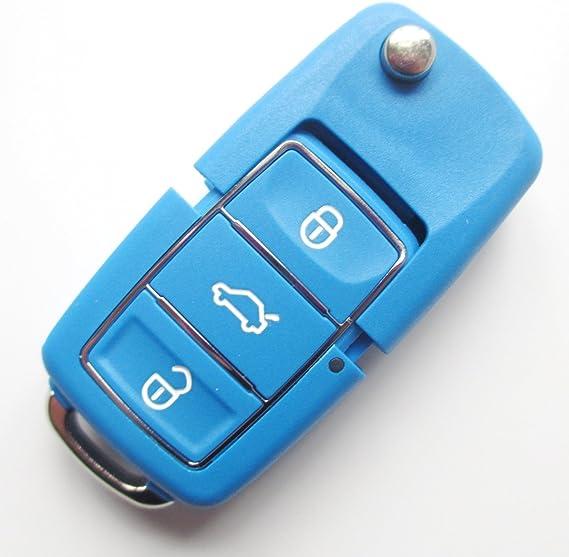 Vwblauks37dd Inion Ersatz Schlüsselgehäuse Mit Farben Nach Wahl 3 Taste Autoschlüssel Klappschlüssel Schlüssel Mit Rohlingtyp Haa Fernbedienung Funkschlüssel Gehäuse Ohne Transponder Oder Elektronik Für Vw Blau Ks37dd Auto