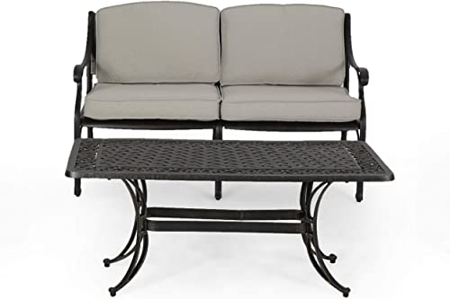 Isabel Outdoor Loveseat with Water Resistant Cushions and Cast Aluminum Coffee Table – Light Beige and Antique Copper Finish