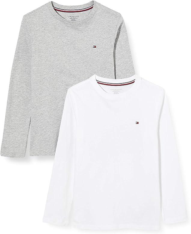 Tommy Hilfiger 2p Cn tee LS Top de Pijama, Blanco (White/Grey Heather), 8-9 años (Talla del Fabricante:) para Niños: Amazon.es: Ropa y accesorios