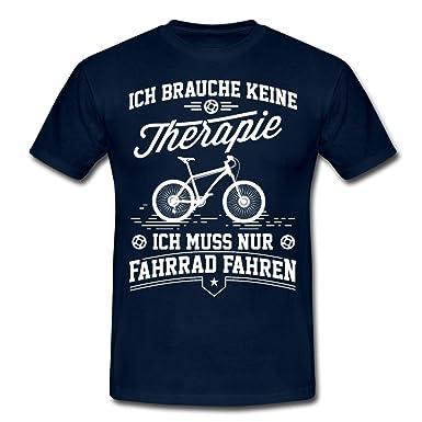 Spreadshirt Keine Therapie Nur Radfahren Fahrrad Spruch Männer T-Shirt, S,  Navy