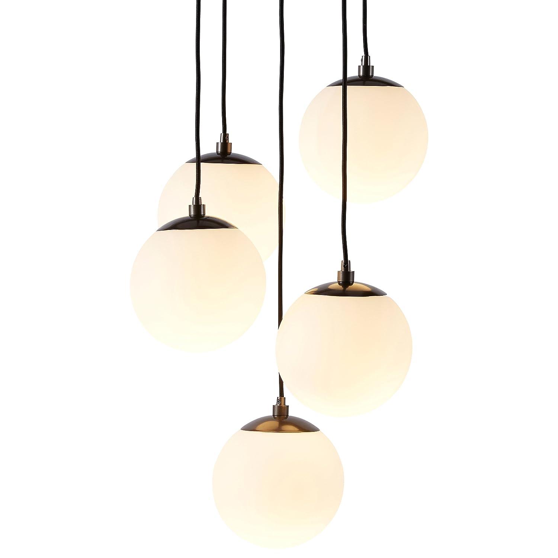 (リベット) Rivet エクリプス 球型 吊るすシャンデリア 高さ48インチ ブラックメタル ガラス製グローブ B07374P5NP