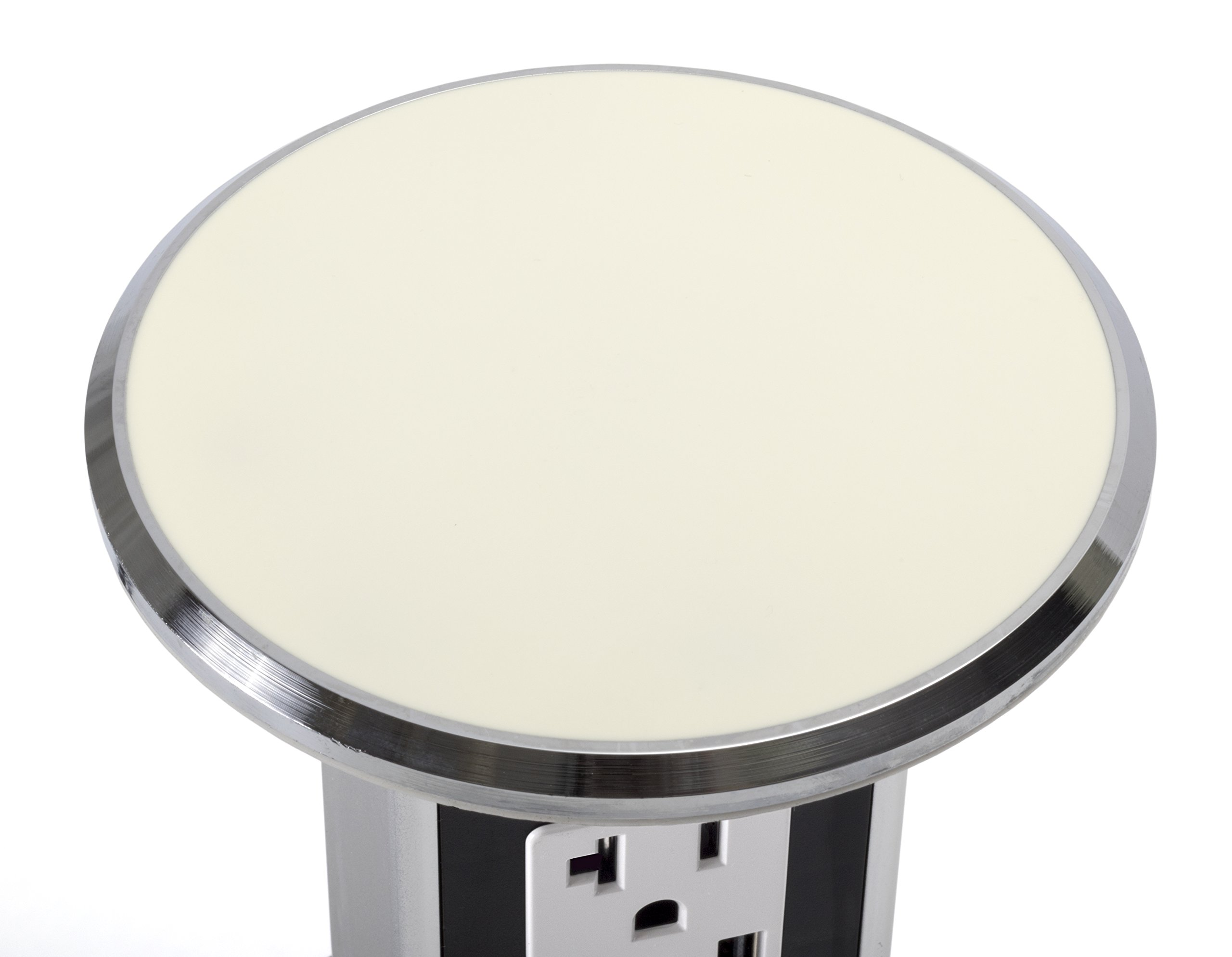 Lew Electric PUR20-OW Round Countertop Pop Up 20 Amp Receptacles - Off White