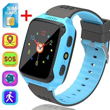 [SIM Card Included] Smart Watch for Girls Boys- GPS Locator Pedometer Fitness Tracker Touch Camera Games Light Touch Anti Lost Alarm Clock Smart Watch ...