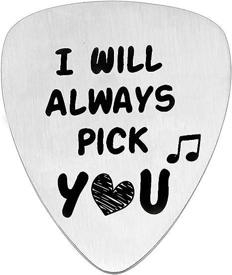 KENYG - Púa para guitarra de acero inoxidable con texto en inglés