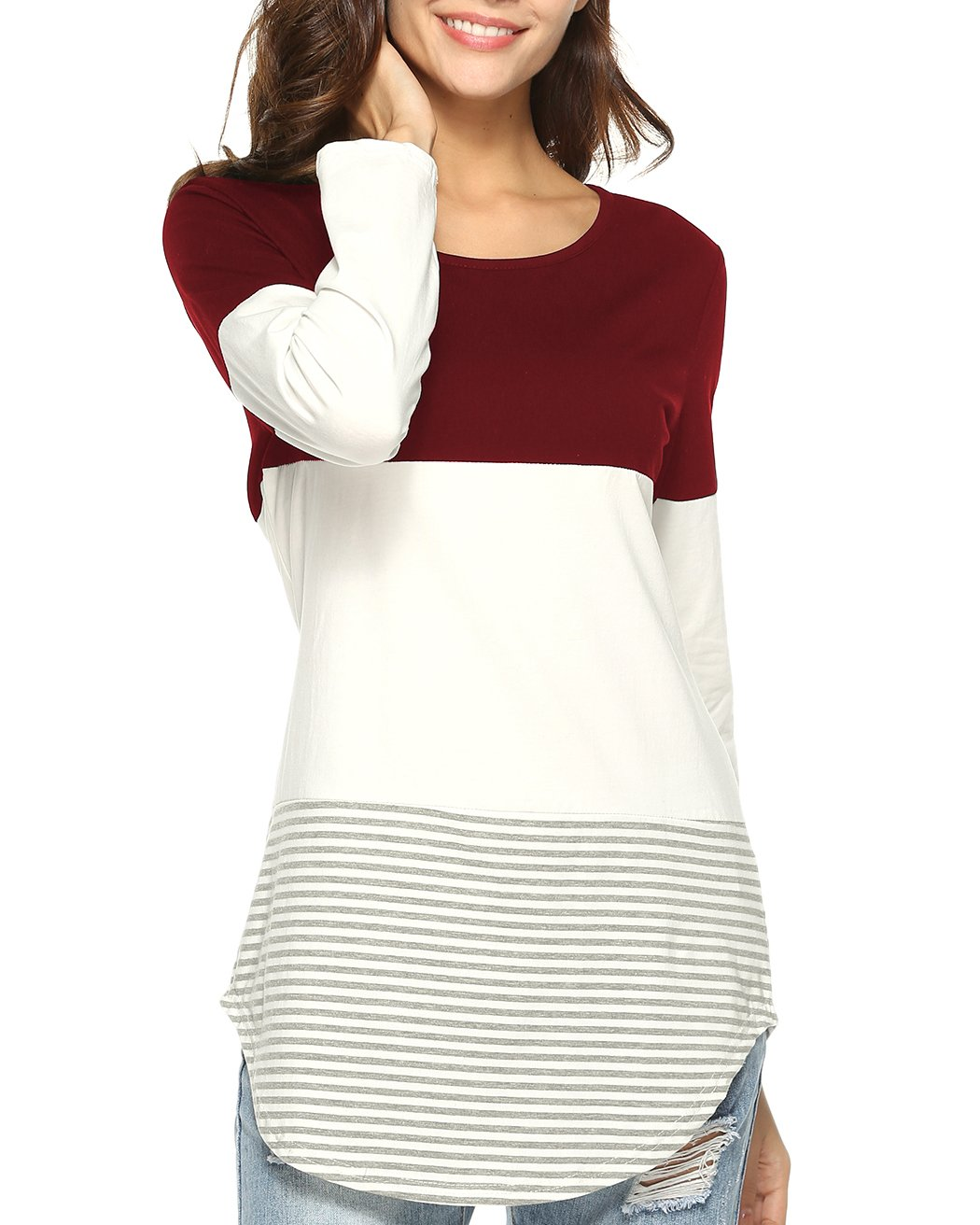 Aliex Women's Tunic Top Casual Long Sleeve T-Shirt Color Block Red M