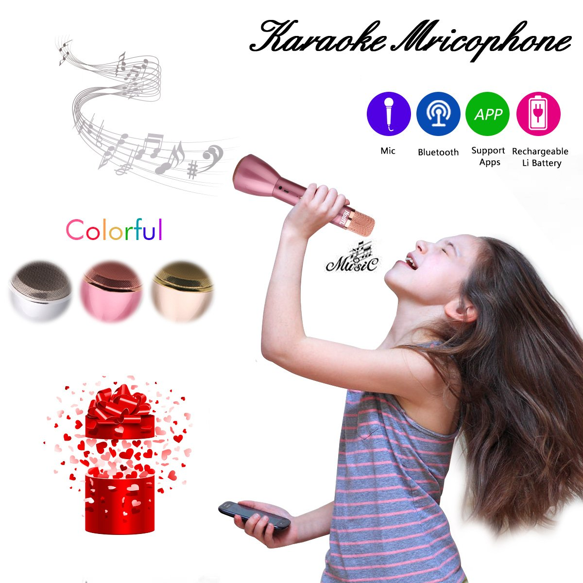 Microphone for Kids - Portable Wireless Microphone Karaoke with Bluetooth Speakers for Music Playing and Singing Anytime Anywhere - Support IPhone/Android IOS Smartphone/Tablet Compatible Rose Gold