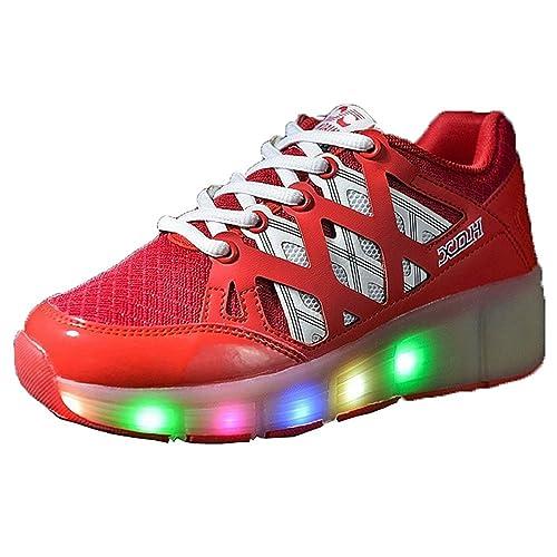 uerescha niños Heelys niños moda Zapatillas con ruedas Single LED para patines: Amazon.es: Zapatos y complementos
