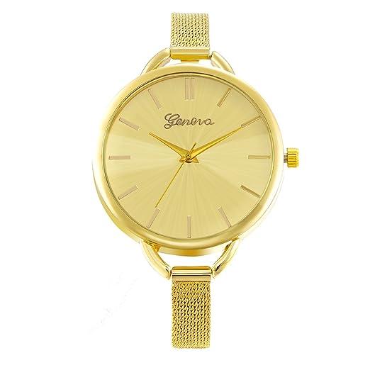 JewelryWe Reloj de Chica, Diseños Minimalistas con Correa Ultra Fina Milanés, Moderno Reloj Oro para Mujer, 2016 Nueva Moda: Amazon.es: Relojes