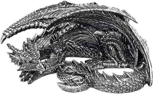 Things2Die4 Somasaurus Metallic Black Gothic Sleeping Dragon Statue 12 in.