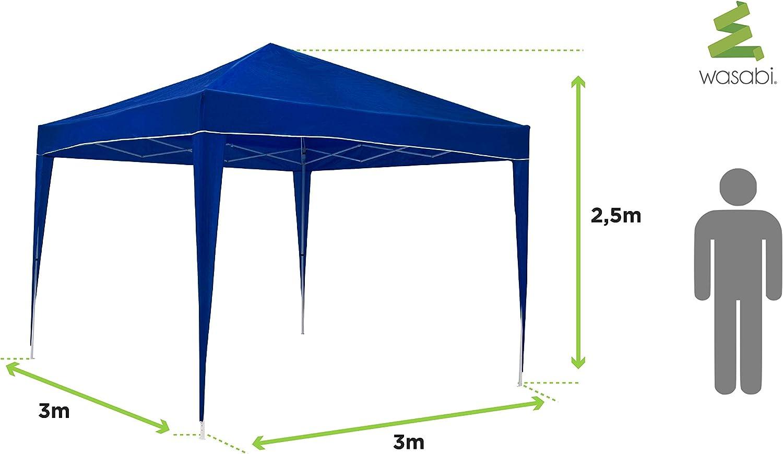 wasabi Carpa Plegable 3x3m Classic Azul de jardín, terraza ...