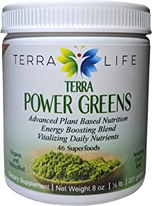 Terra Power Greens - 8oz (227 gram, 1/2 lb) Organic Super Green Drink Powder - Vegan Detox Mix & Formula - Superfood Vegetable Supplement, No Stevia/Sugar - Dietary Veggie Health Powders - 45 Servings