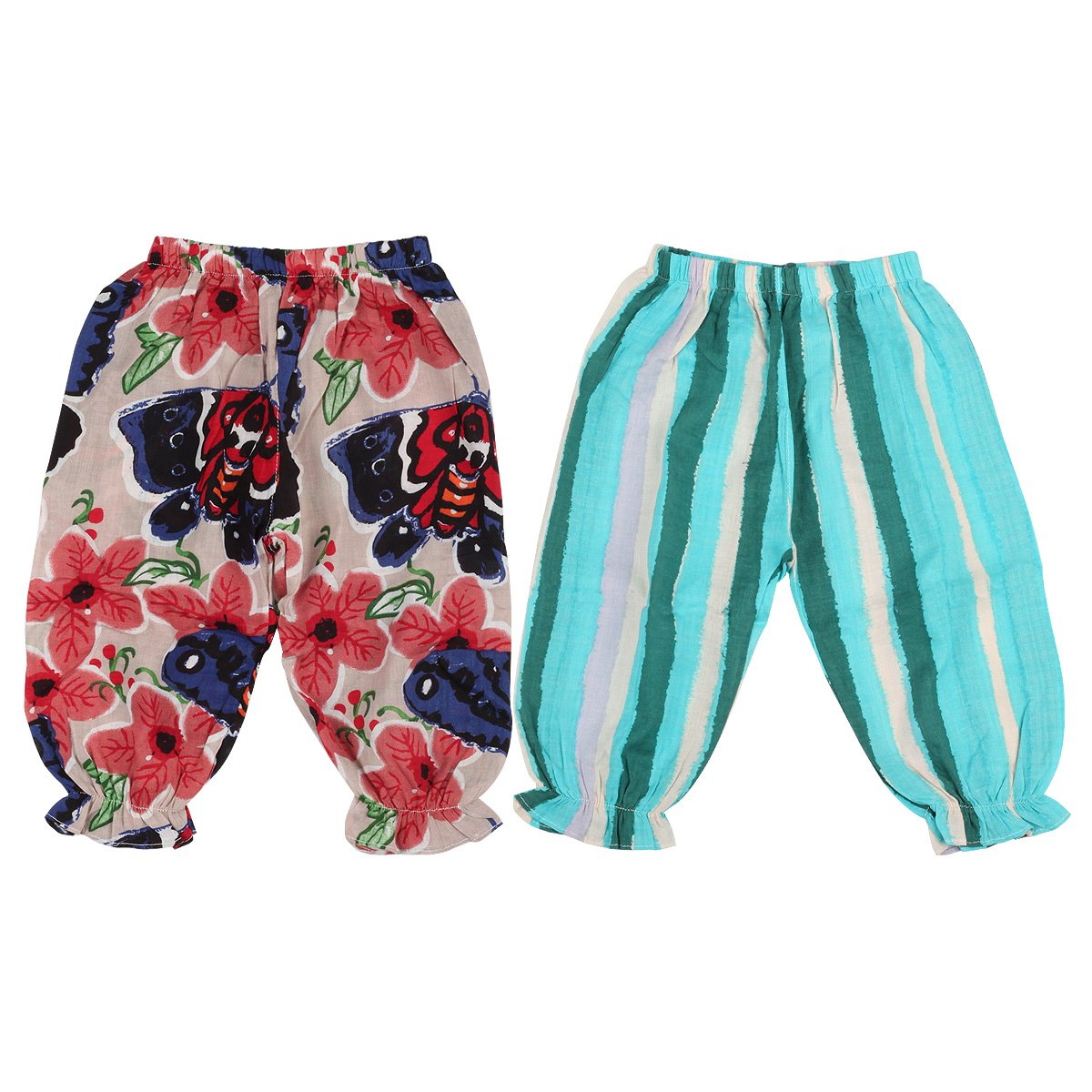 Slowera Little Girls 2 Pack Summer Harem Pants Ankle Length (Style1, 90:2 Years)