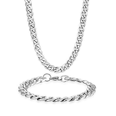 b06d4d863c03 Joyas Potok en acero inoxidable Juego de cadenas y collares y brazaletes  para mujer hombre pulseras