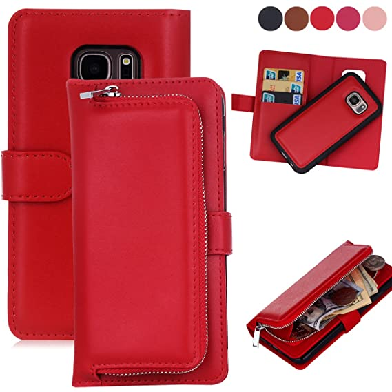 uk availability 1a0aa ce691 Amazon.com: Samsung Galaxy S7 Wallet Cases, AMASELL [Zipper Cash ...